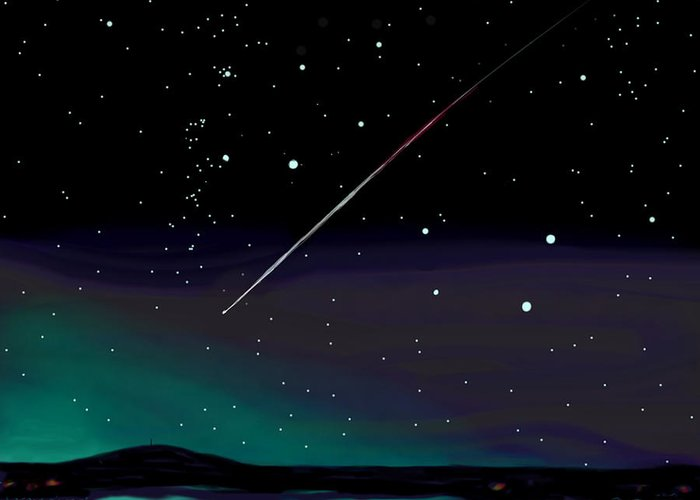 Meteor Greeting Card featuring the digital art Perseid Meteor Shower by Jean Pacheco Ravinski