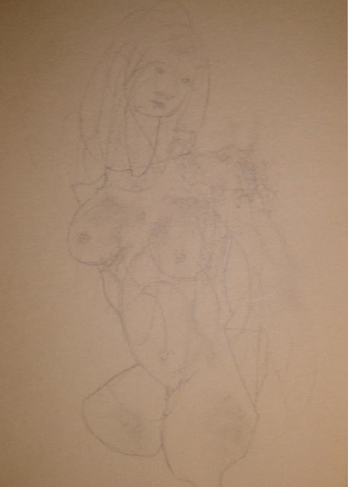 Female Nude Greeting Card featuring the drawing Persephone by Dean Corbin