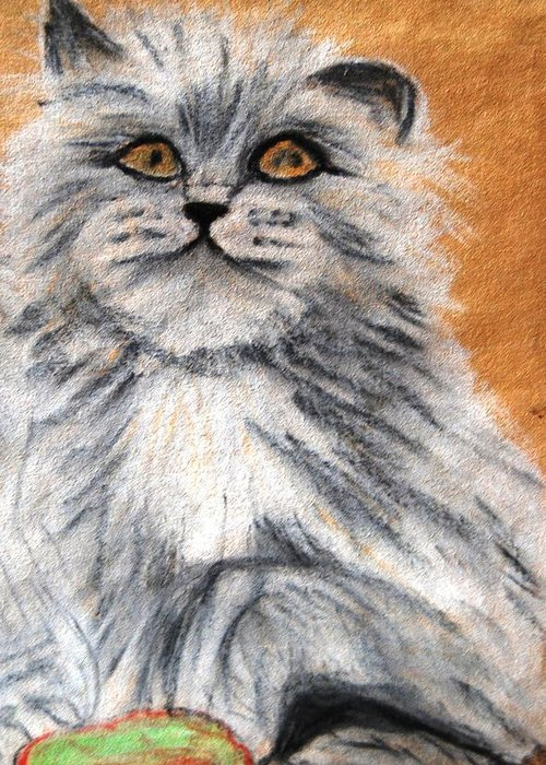 White And Grey Persian Cat Greeting Card featuring the mixed media Persian Cat by Angela Murray