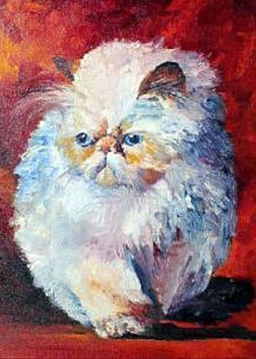 Cat Greeting Card featuring the painting Persian Fluffy Cat by Christy Freeman