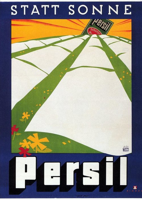 Persil Greeting Card featuring the mixed media Persil - Statt Sonne - Vintage Advertising Poster For Detergent by Studio Grafiikka