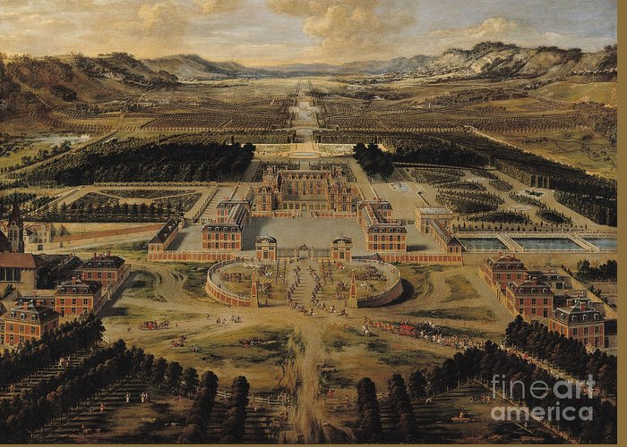 Perspective Greeting Card featuring the painting Perspective View Of The Chateau Gardens And Park Of Versailles by Pierre Patel