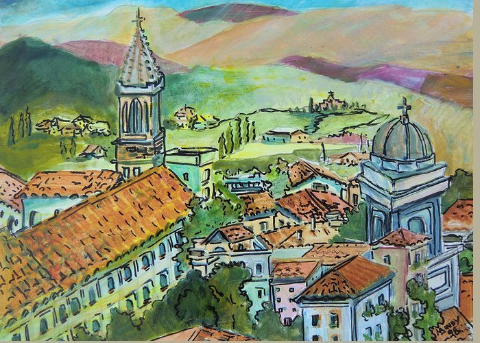 Perugia Greeting Card featuring the painting Perugia Italy by Mindy Newman