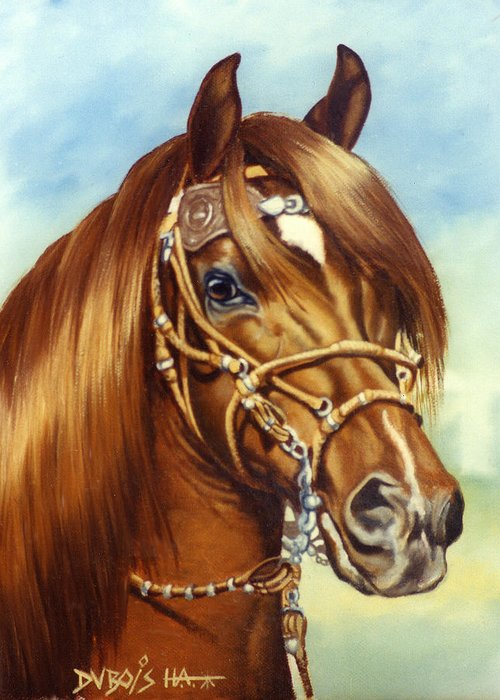 Peruvian Paso Greeting Card featuring the painting Peruvian Beauty by Howard Dubois