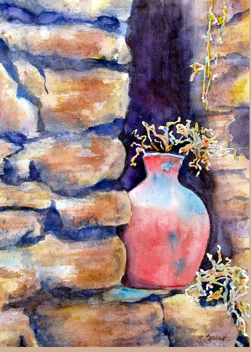Pot Greeting Card featuring the painting Peruvian Pot by Marsha Elliott
