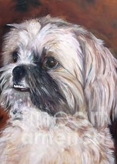 Pet Greeting Card featuring the painting Pet Portrait Artist Painter by Renee Dumont Museum Quality Oil Paintings Dumont