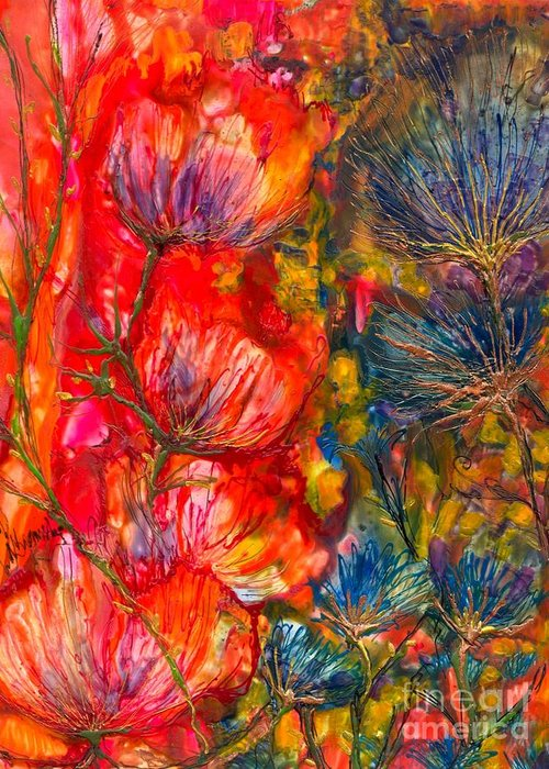 Abstract Encaustic Greeting Card featuring the painting Petal Fiesta by Heather Hennick