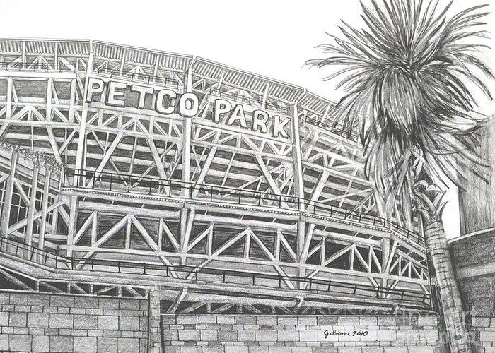 San Diego Padres Stadium Drawings Greeting Cards