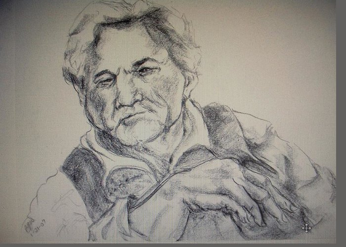 Movie Star Greeting Card featuring the painting Peter Falk by Brian Wagner