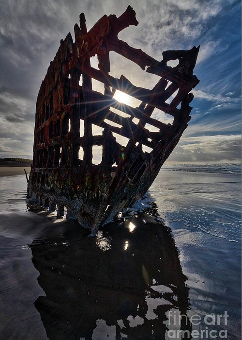 Peter Iredale Greeting Card featuring the photograph Peter Iredale Shipwreck by Rob Daugherty