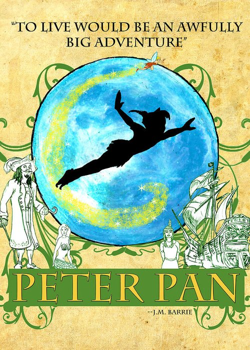 Peter Pan Greeting Card featuring the digital art Peter Pan Tribute by William Depaula