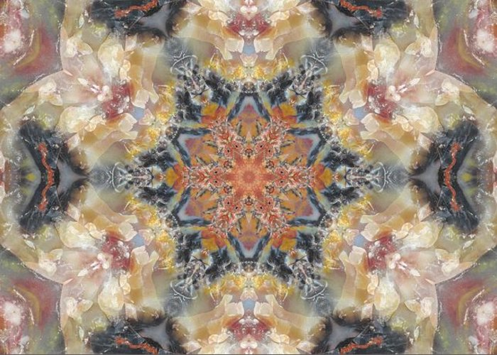 Kaleidoscope Greeting Card featuring the photograph Petrified Snowflake by M E Cieplinski