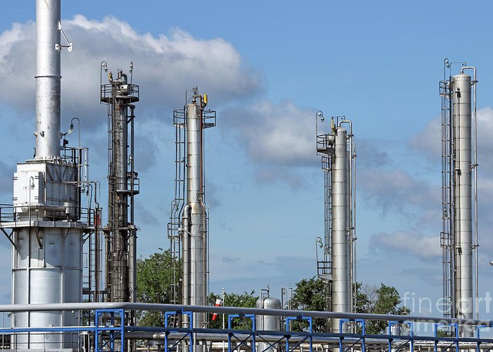 Factory Greeting Card featuring the photograph Petrochemical Plant Refinery Industry Zone by Goce Risteski