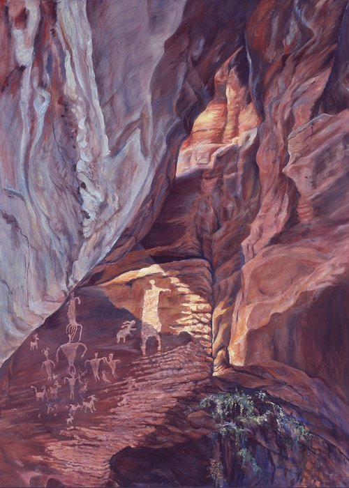 Landscape Greeting Card featuring the painting Petroglyph Circus by Page Holland