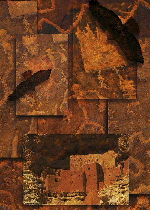 Petroglyphs Greeting Card featuring the photograph Petroglyphs Red Tailed Hawk by Bob Coates