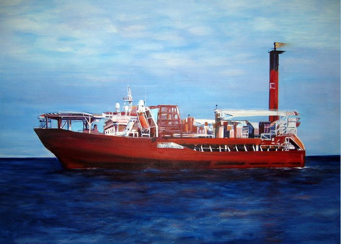 Ship Greeting Card featuring the painting Petrojarl Banff by Fiona Jack