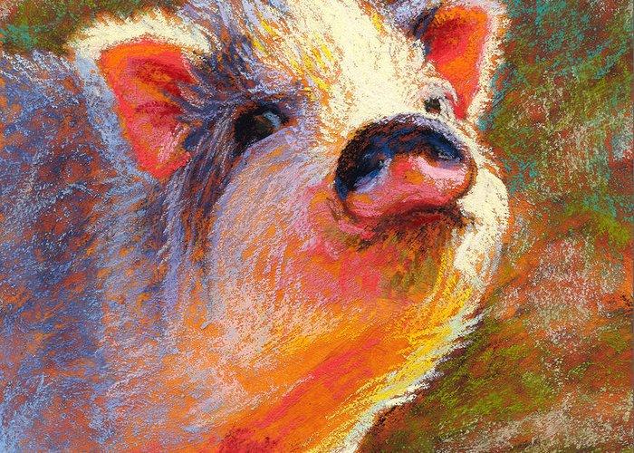 Pig Greeting Card featuring the pastel Petunia by Rita Kirkman