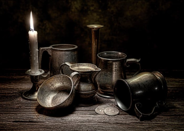 Pewter Greeting Card featuring the photograph Pewter Still Life II by Tom Mc Nemar