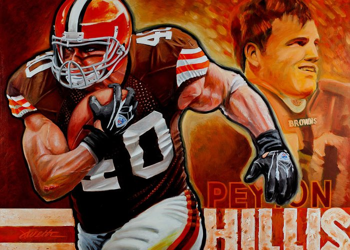 Football Greeting Card featuring the painting Peyton Hillis by Jim Wetherington