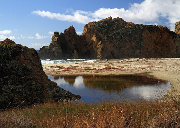 Pfeiffer Greeting Card featuring the photograph Pfeiffer Beach Landscape In Big Sur by Pierre Leclerc Photography