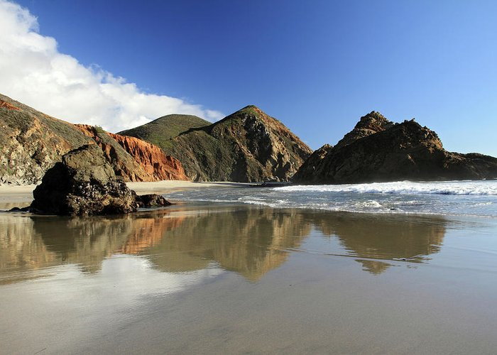 Pfeiffer Greeting Card featuring the photograph Pfeiffer Beach Reflection by Pierre Leclerc Photography