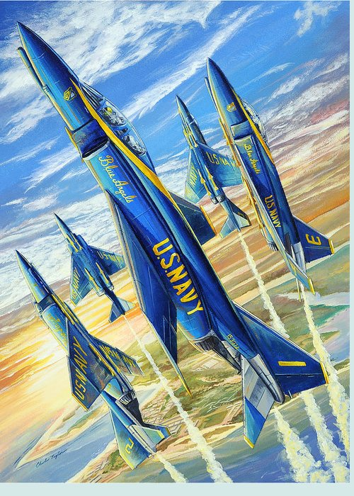 Blue Angels Greeting Card featuring the painting Phantom Angels by Charles Taylor