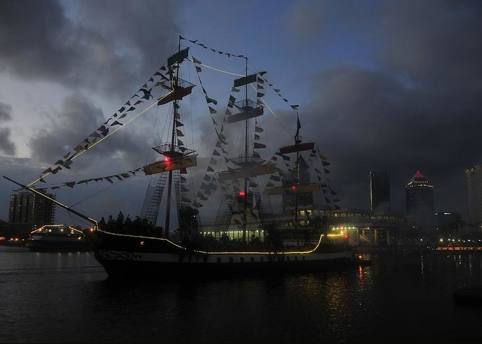 Pirate Festival Greeting Card featuring the photograph Phantom Ship by David Lee Thompson