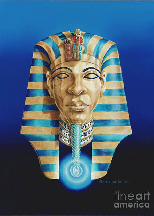 Hieroglyphics Greeting Card featuring the painting Pharaoh by George Combs