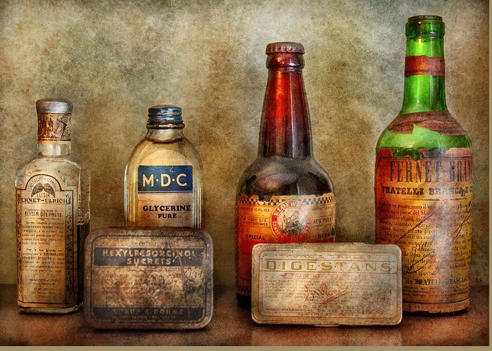 Hdr Greeting Card featuring the photograph Pharmacist - On A Pharmacists Counter by Mike Savad