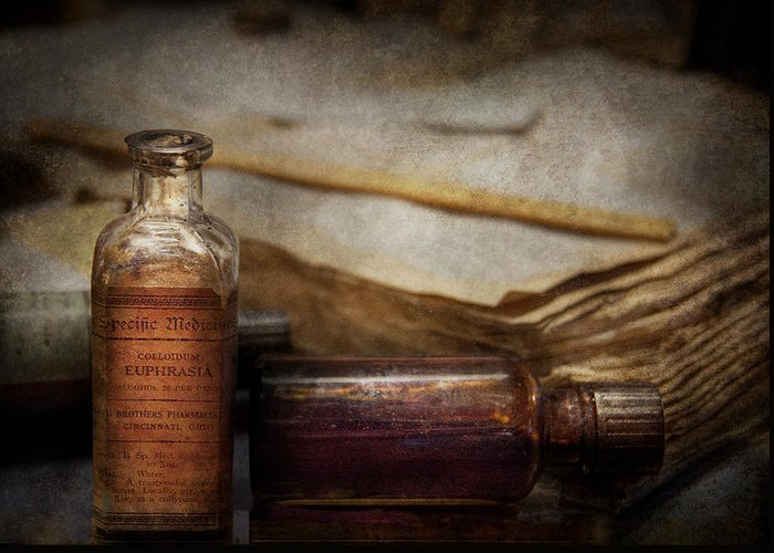 Hdr Greeting Card featuring the photograph Pharmacist - Specific Medicines by Mike Savad