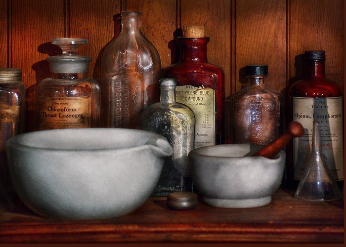 Gift For Greeting Card featuring the photograph Pharmacist - Medicine For Coughing by Mike Savad