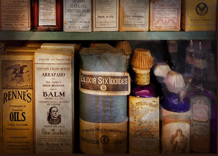 Hdr Greeting Card featuring the photograph Pharmacy - Oils And Balms by Mike Savad