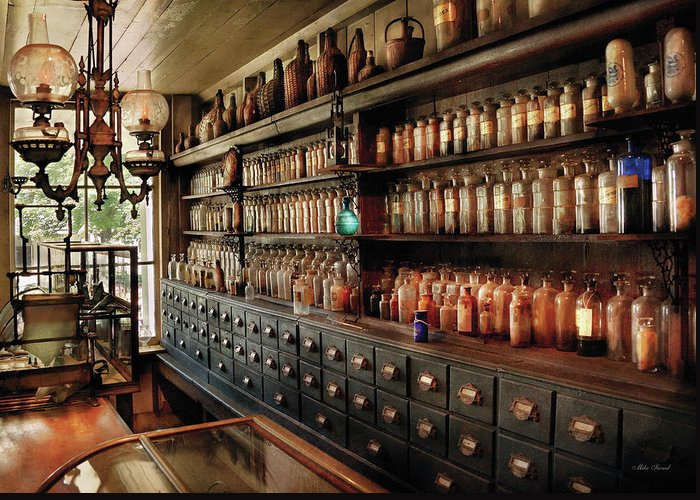 Pharmacy Greeting Card featuring the photograph Pharmacy - So Many Drawers And Bottles by Mike Savad