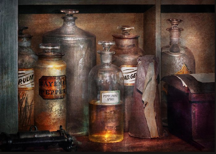 Apothecary Greeting Card featuring the photograph Pharmacy - That's The Spirit by Mike Savad