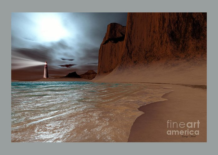 Lighthouse Greeting Card featuring the painting Pharos by Corey Ford