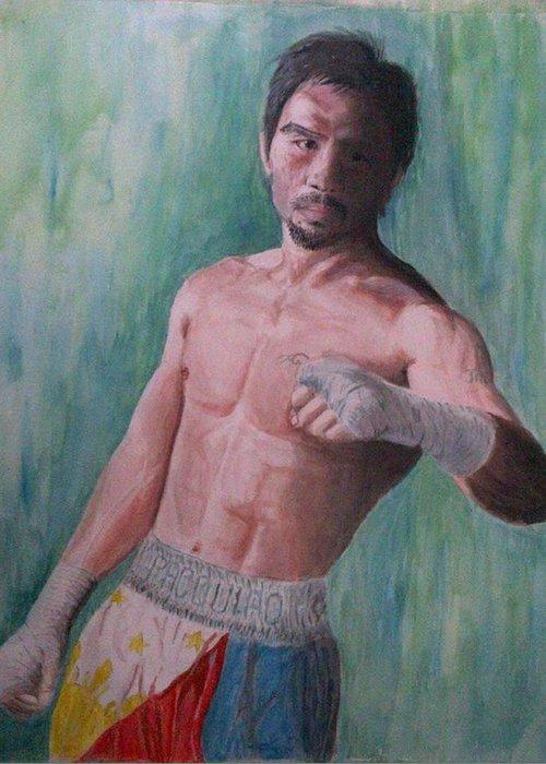 Boxing Greeting Card featuring the painting Phenomenal. by SAIGON De Manila