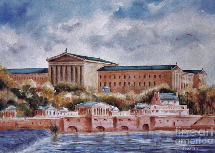 Landscape Greeting Card featuring the painting Philadelphia Art Museum by Joyce A Guariglia