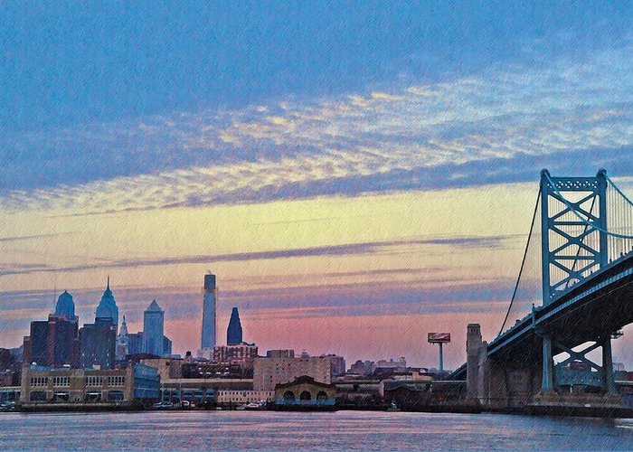 Philadelphia Greeting Card featuring the photograph Philadelphia At Dawn by Bill Cannon