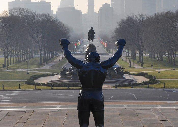Philadelphia Champion - Rocky Greeting Card featuring the photograph Philadelphia Champion - Rocky by Bill Cannon