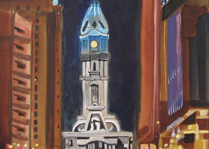 Landmarks Greeting Card featuring the painting Philadelphia City Hall by Patricia Arroyo