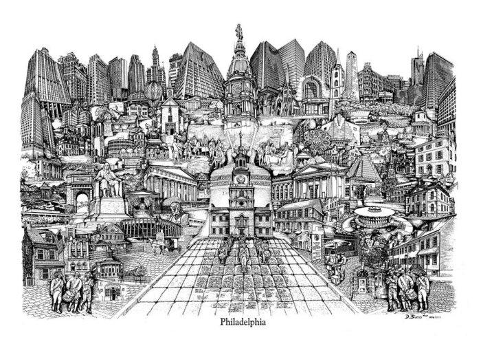 City Drawing Greeting Card featuring the drawing Philadelphia by Dennis Bivens