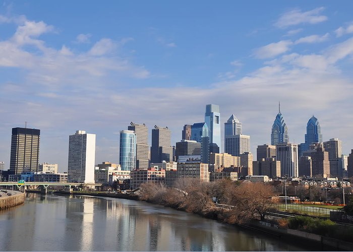 Philadelphia Greeting Card featuring the photograph Philadelphia From The South Street Bridge by Bill Cannon
