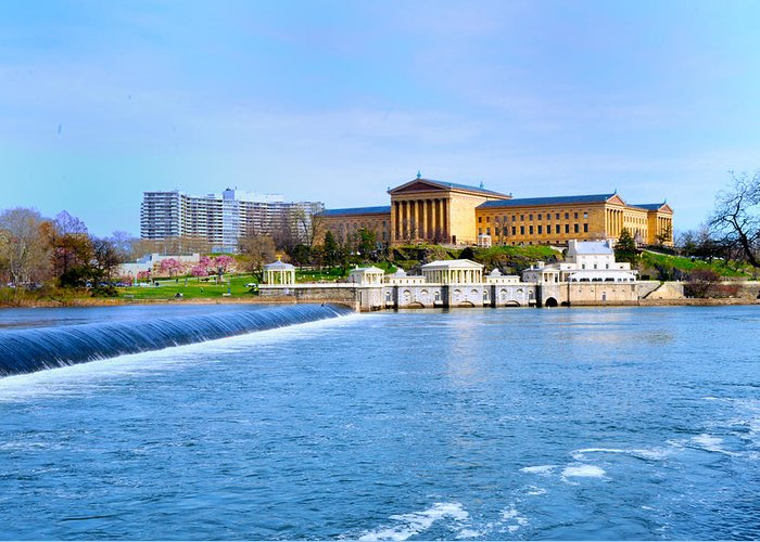 Philadelphia Greeting Card featuring the photograph Philadelphia Museum Of Art And The Philadelphia Waterworks by Bill Cannon