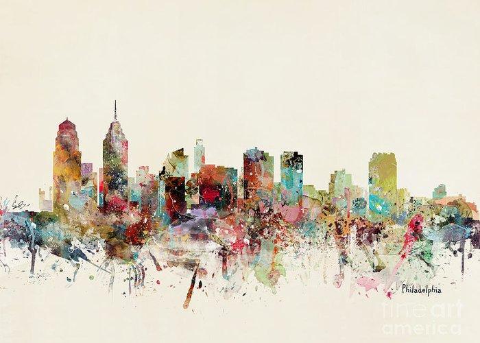 Philadelphia Greeting Card featuring the painting Philadelphia Pennsylvania Skyline by Bri Buckley