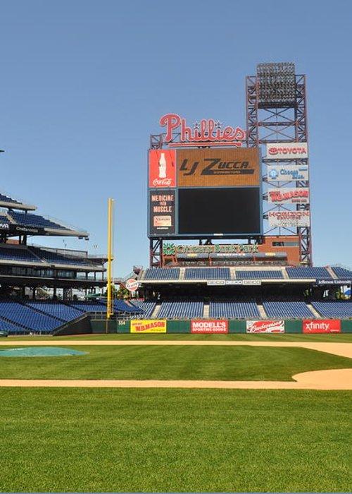 Philadelphia Phillies Greeting Card featuring the photograph Philadelphia Phillies Stadium by Brynn Ditsche