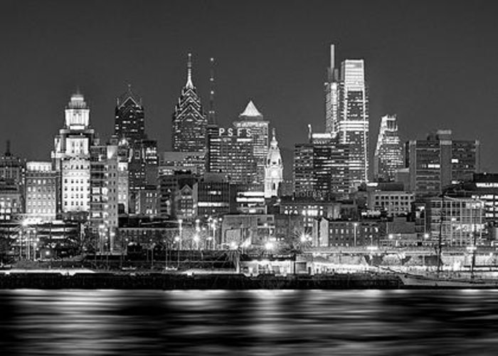Philadelphia Skyline At Night Greeting Card featuring the photograph Philadelphia Philly Skyline At Night From East Black And White Bw by Jon Holiday