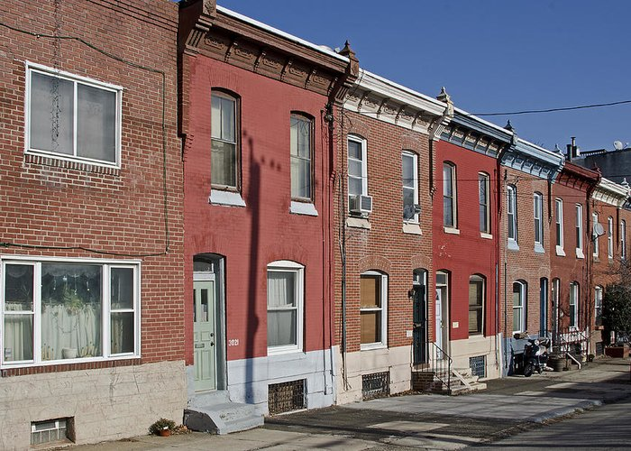 Philadelphia Greeting Card featuring the photograph Philadelphia Row Houses by Brendan Reals