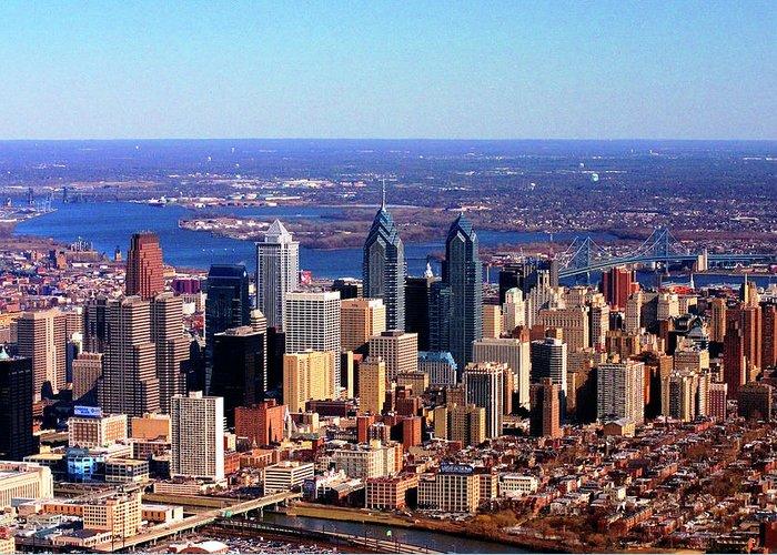 Philadelphia Greeting Card featuring the photograph Philadelphia Skyline 2005 by Duncan Pearson