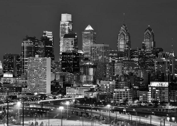 Philadelphia Skyline At Dusk Greeting Card featuring the photograph Philadelphia Skyline At Night Black And White Bw by Jon Holiday