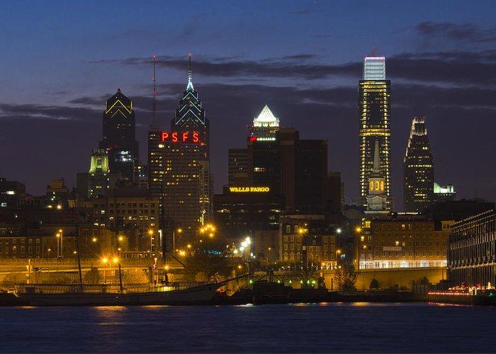 Philadelphia Greeting Card featuring the photograph Philadelphia Skyline At Night by Brendan Reals